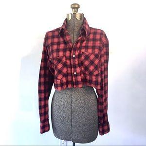 Vintage Cropped Flannel Button Down Grunge